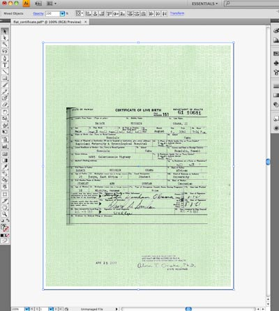 Obama Birth Certificate Past to Photoshop